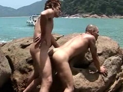 Horny Latino Gay loves seaside ass fucking pounding