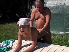 Horny blonde mistress fucks old gardener for blowjob cumshot in her frowardness