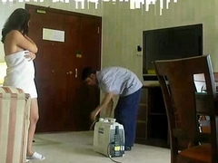 Half unclothed Arab slut wife teases another hotel worker