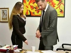 Big titted babe helps her CEO give someone the brush while at work 8