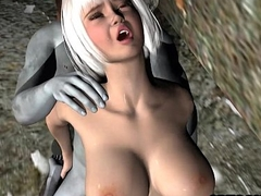 Sexy 3D cartoon babe getting fuckced by a zombie