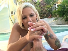 Backyard Blonde Tugs it