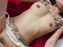 Juicy Oriental bitch in lingerie procurement doggystyle boned