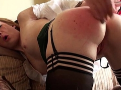 Ginger brit sub slut driven in stockings