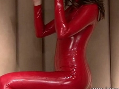 Red latex fetishist Olivias rubber outfit posing and solo babes softcore concocted