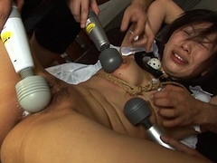 Dudes destroy the babe'_s soaking tied up pussy
