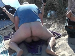 Slutwife Marion bareback gangbang on the beach in Summer 2016