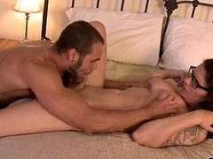 Busty shemale Riley Quinn is cumming while shes doggystyled