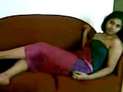 Bangla Teen Exposing Lying on Couch with Bangla Audio