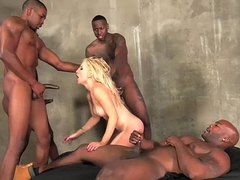 Ashley Fires gangbang taking black cocks in throughout holes