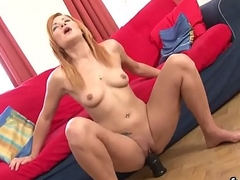 Naughty centerfold gapes her vagina and enjoys hard-core penetration