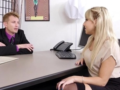 Juicy Pain in the neck Blond Secretary Valerie Exploited By Her Mr Big brass