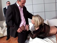 A Good Release Sexy Blonde bitchdevours 3 cocks in triple deepness