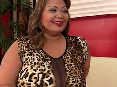 Big titty BBW Miss LingLing rails a load of shit