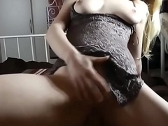 Busty Wife Deepthroats Handjob Rides Hairy Dong and Heavy Cumshot - chatscams.com
