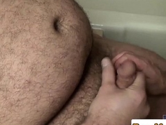 Superchub stand cocksucked by bald bottom